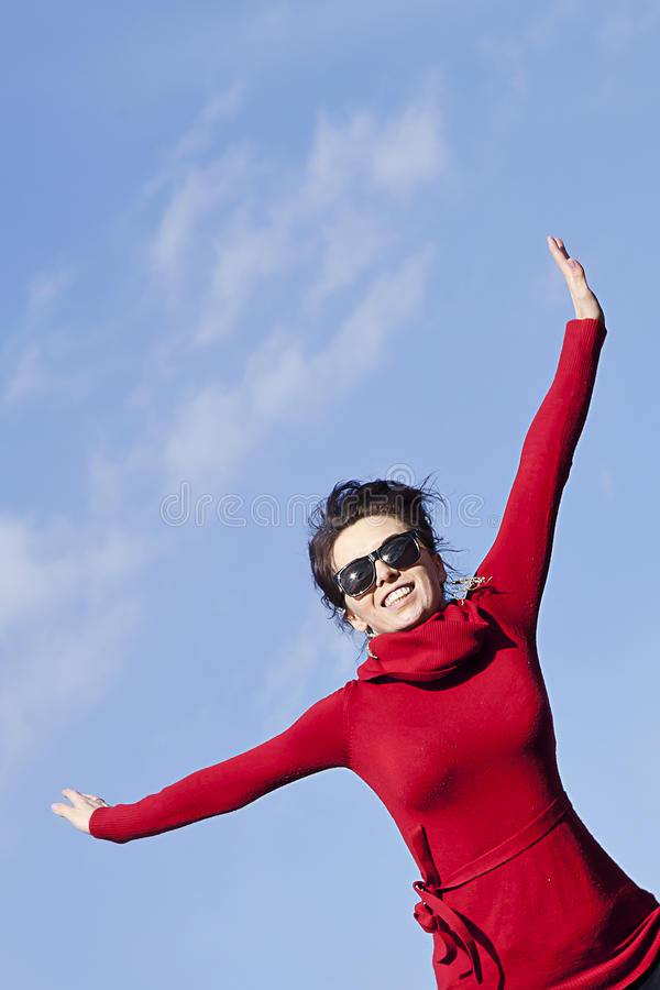 Be active stay healthy -happy woman stock photography