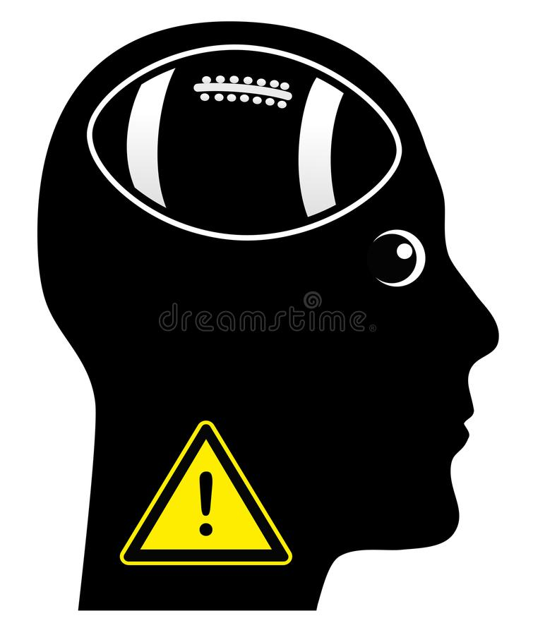 Warning Football Addict. Be aware of a person who is totally addicted to football games royalty free illustration