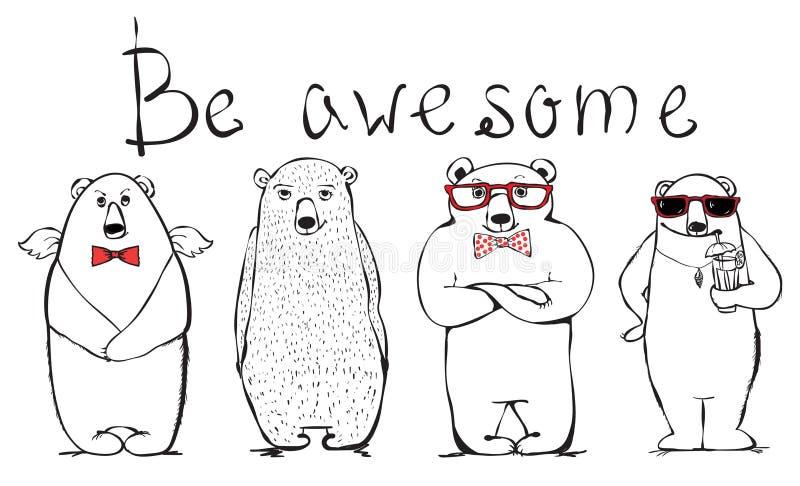 Be awesome bear royalty free illustration
