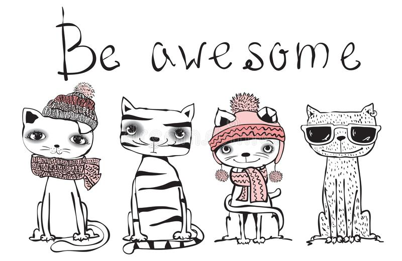 Be awesome cat royalty free illustration