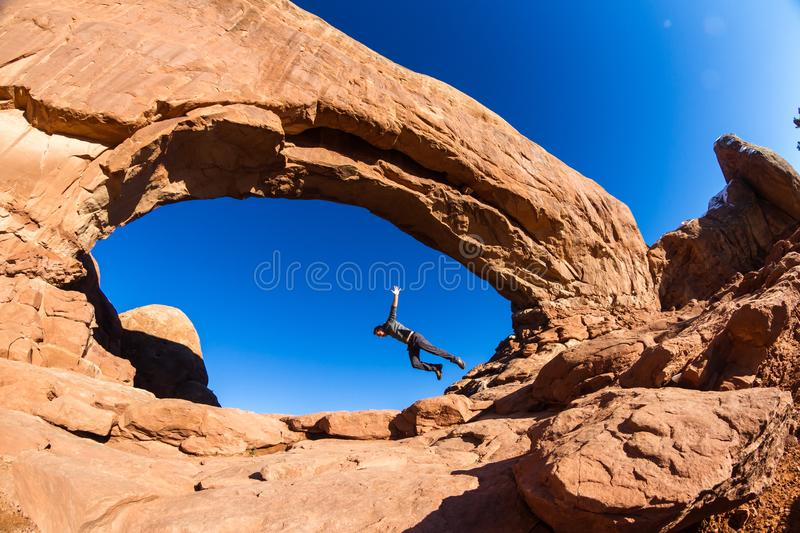 Be careful, don`t trip on the rocks stock photos
