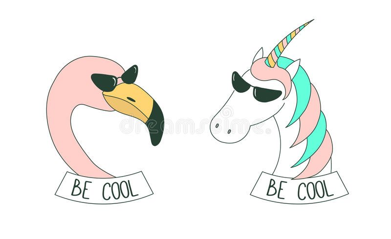 Be cool stickers. Set of hand drawn cute funny stickers in pink, with flamingo and unicorn wearing sunglasses, with text Be cool. Isolated objects on white royalty free illustration