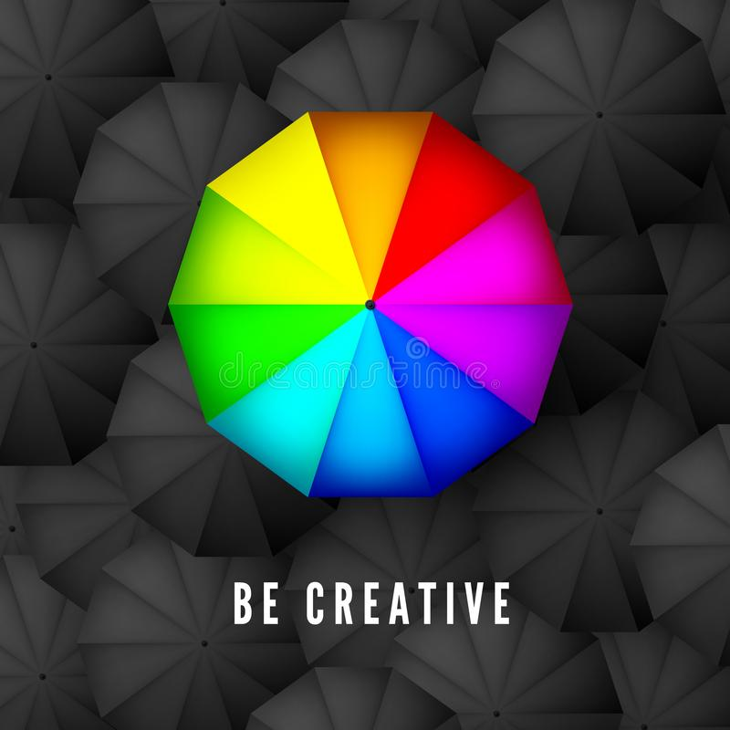 Be creative and think different business concept. Rainbow color umbrella on background of black parasols. Vector illustration.  stock illustration