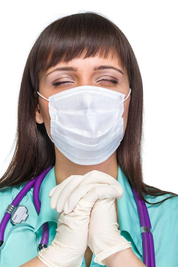 Be den kvinnliga medicinska doktorn med den isolerade maskeringen arkivbilder
