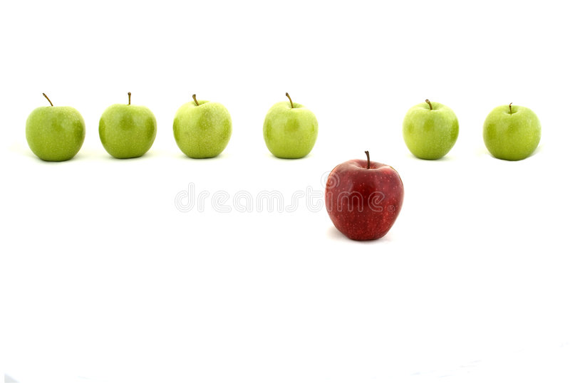 Be different. A line of green apples and one red apple