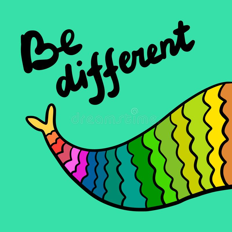 Be different tail of mermaid colorful rainbow style hand drawn illustration stock illustration
