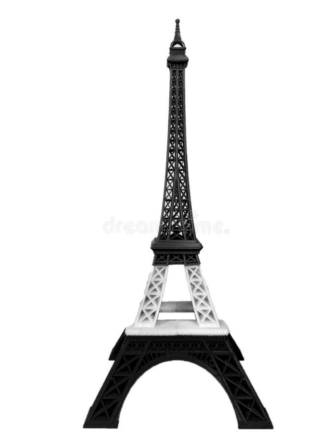 Be för det Paris begreppet, Eiffeltornmodell i det entoniga svartvita bandet som skrivs ut av 3D skrivaren Isolated på vit bakgru arkivfoto