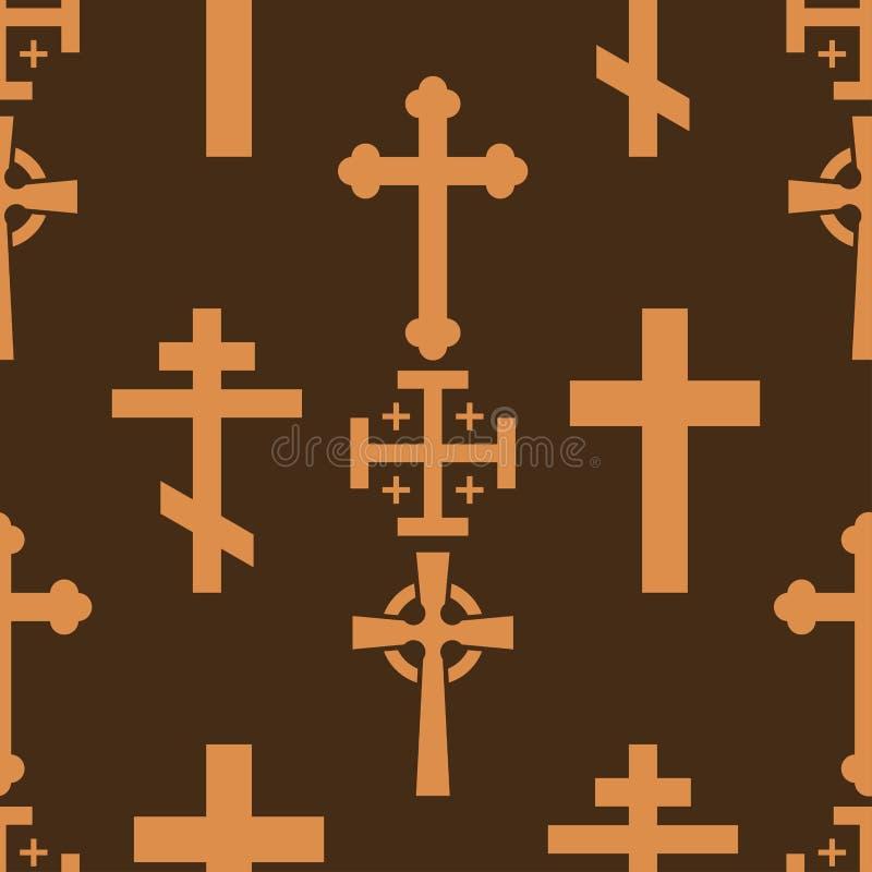 Be för kontur för tecken för sömlös bakgrund för modell för religionism för vektor för religion för kristendomenkyrkakors heligt royaltyfri illustrationer