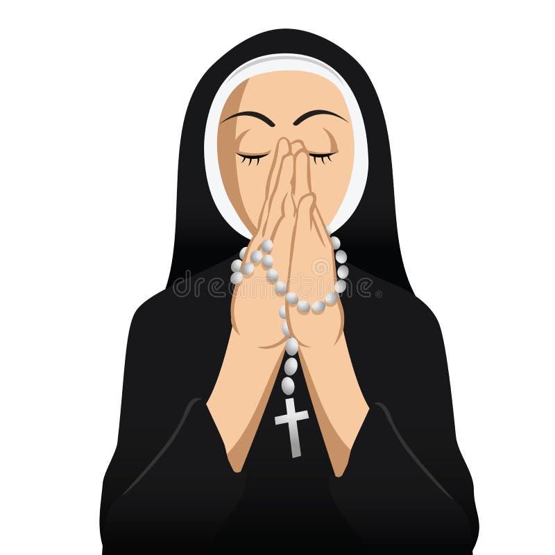 Be för nunnakatolik vektor illustrationer