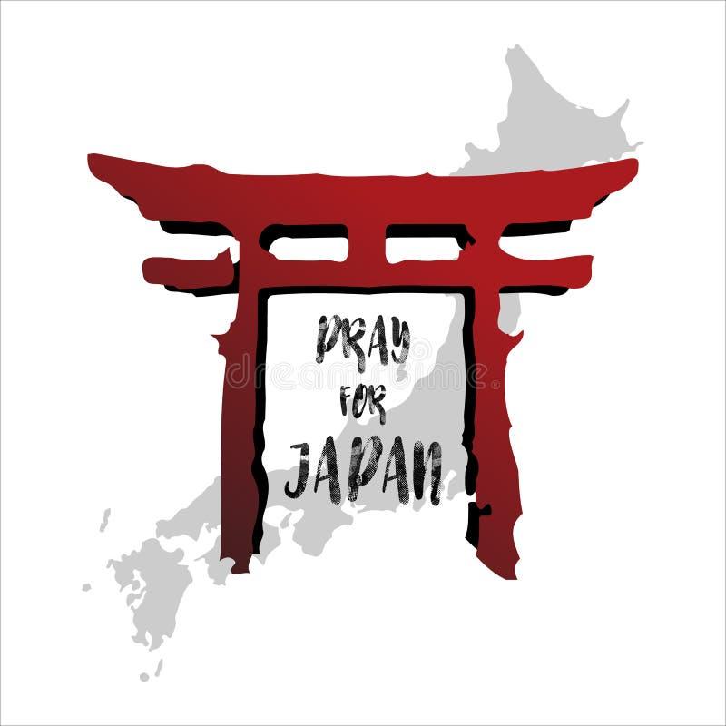 Be f?r Japan abstrakt bakgrundsbegrepp Den röda tempelkolonnen isolerade vit bakgrund med den japanska översikten royaltyfri illustrationer