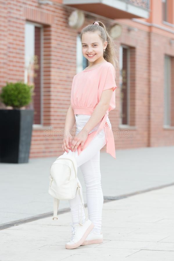 Be fashionable, be you. Fashionable look of small vogue model. Adorable fashionable girl on summer day. Little cute. Child wearing fashionable clothes stock photo