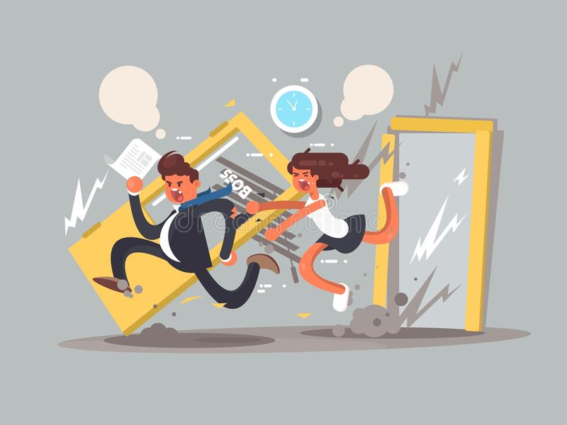 Be first concept. Man running fast in front emotional girl. Vector illustration stock illustration