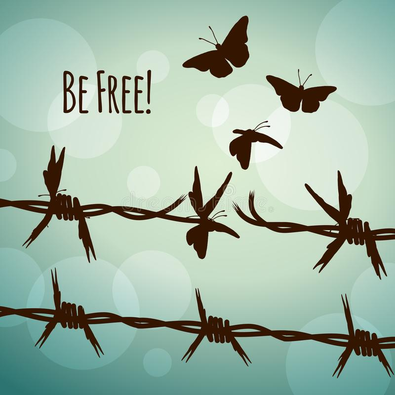 Be free! barbed wire turning into butterflies. Conceptual illustration of barbed wire turning into butterflies royalty free illustration
