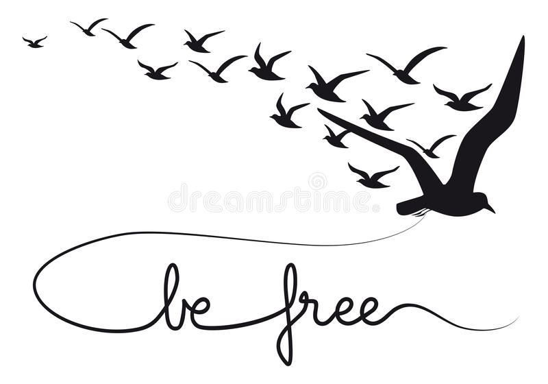 Be free text flying birds, vector vector illustration