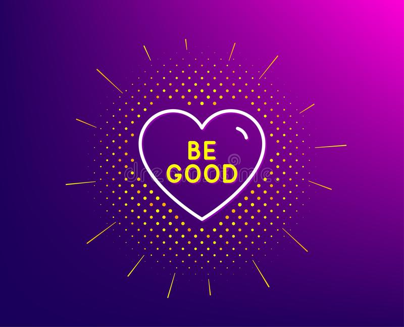 Be good line icon. Sweet heart sign. Valentine day love. Vector. Be good line icon. Halftone pattern. Sweet heart sign. Valentine day love symbol. Gradient vector illustration