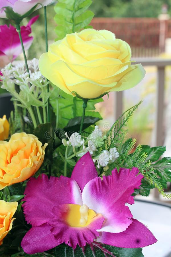 Be handmade goods by Thai people. UDONTHANI, THAILAND – DECEMBER 8, 2018 : The beautiful flower, be handmade goods by Thai people, that show in stock photos