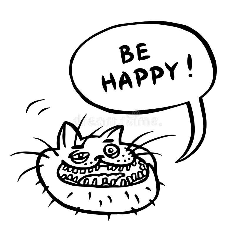 Be Happy! Cartoon Cat Head. Vector Illustration. royalty free illustration