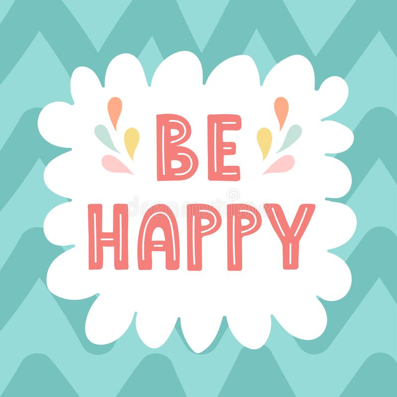 Be Happy hand drawn card vector illustration