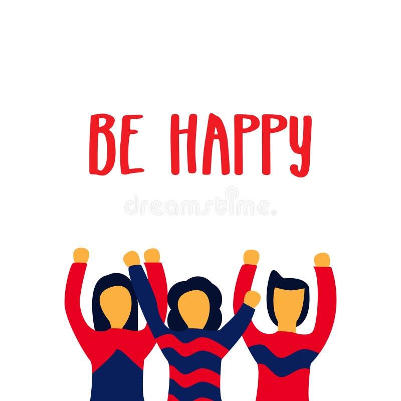 Be Happy Vector Template Design Illustration stock illustration