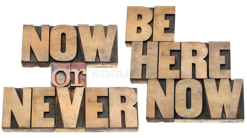Be here now reminder stock images