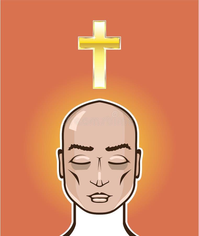 Be illustrationen för vektor för meditation för personguldkors stock illustrationer