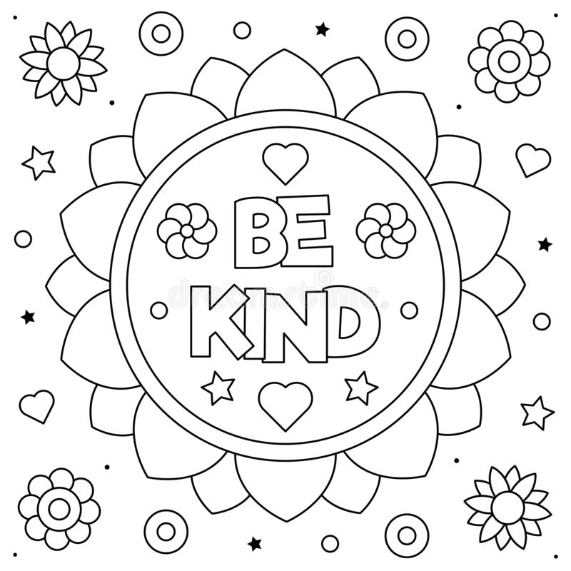 Be Kind. Coloring Page. Black And White Vector Illustration. Stock Vector -  Illustration Of Kids, White: 159012089