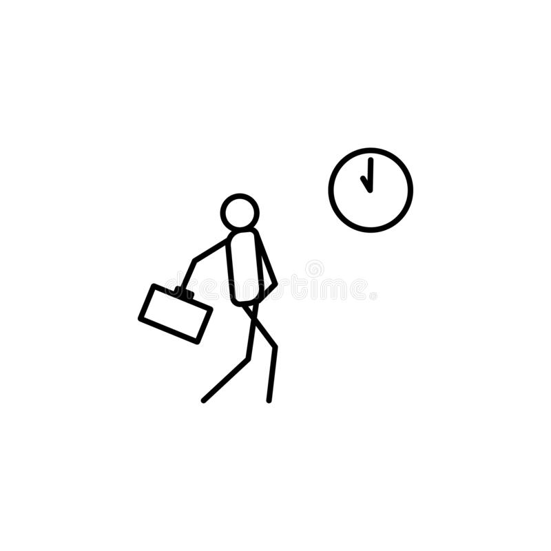 Be late for work outline icon. Element of lazy person icon for mobile concept and web apps. Thin line icon be late for work can be. Used for web and mobile on royalty free illustration