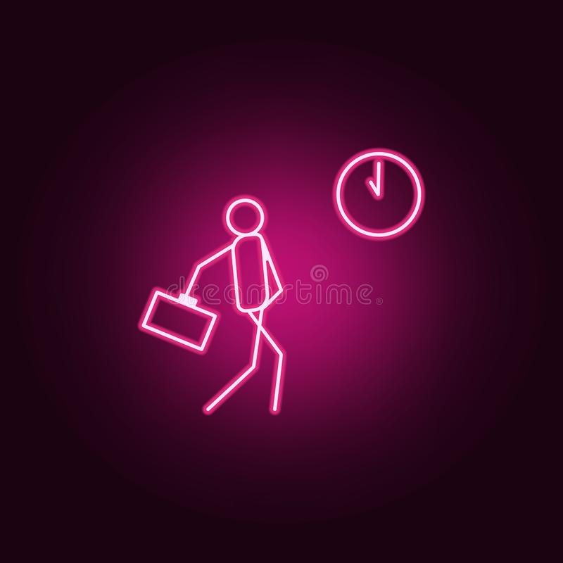 Be late for work outline icon. Elements of Lazy in neon style icons. Simple icon for websites, web design, mobile app, info. Graphics on dark gradient stock illustration