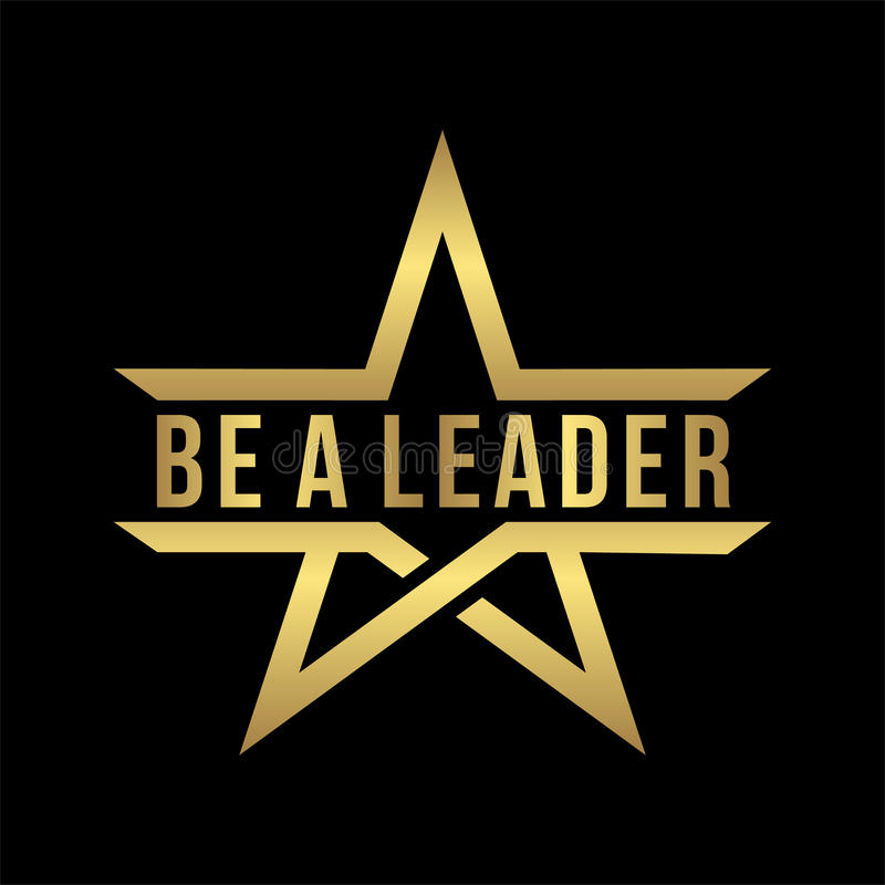 Be a leader lettering design with abstract gold star logo icon in black. Usable for leader and company logo stock illustration