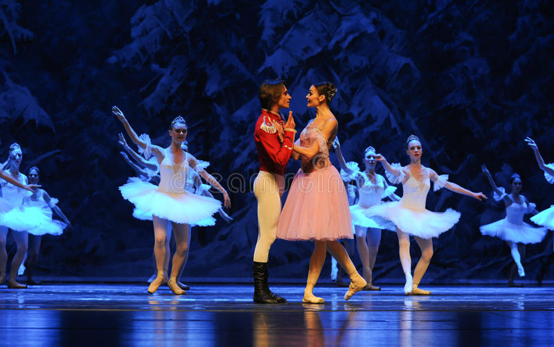Be in love with-The first act of fourth field snow Country -The Ballet Nutcracker. Ukraine Kiev theatre ballet dancers perform the Nutcracker in Nanchang in royalty free stock photo