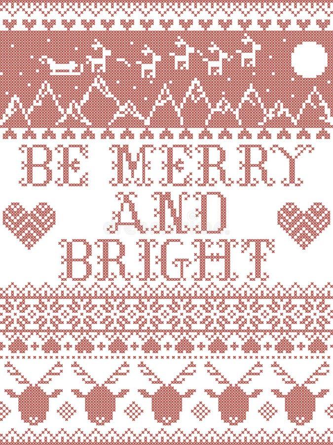 Be Merry and Bright Carol тексты песен Christmas pattern с скандинавской праздничной зимней моделью на перекрестке с сердцем стоковое изображение rf