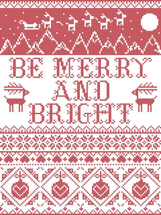 Be Merry and Bright Carol тексты песен Christmas pattern с скандинавской праздничной зимней моделью в кросс-штепел с сердцами стоковое фото