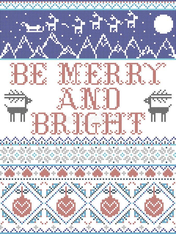 Be Merry and Bright Carol тексты песен Christmas pattern с скандинавской праздничной зимней моделью в кросс-штепел с сердцами бесплатная иллюстрация