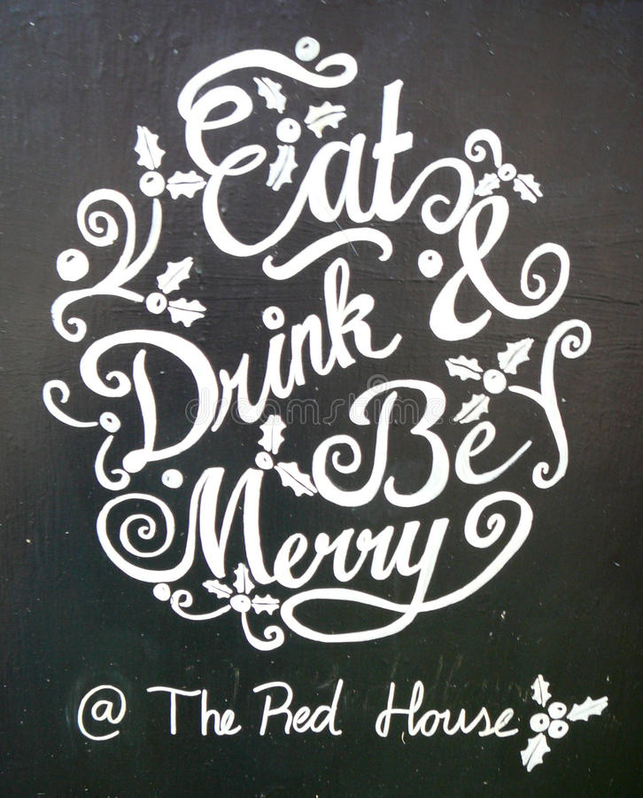 Be Merry. Eat drink and be merry stock image