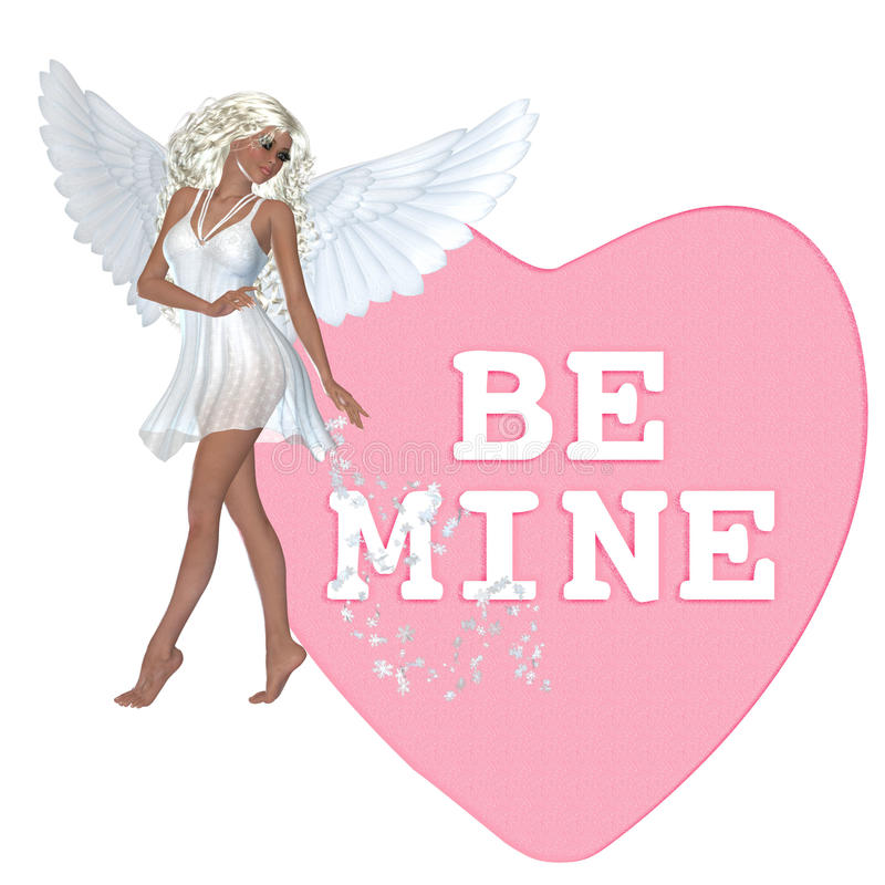 Free Be Mine Angel Valentine Candy Heart Royalty Free Stock Photography - 12739047