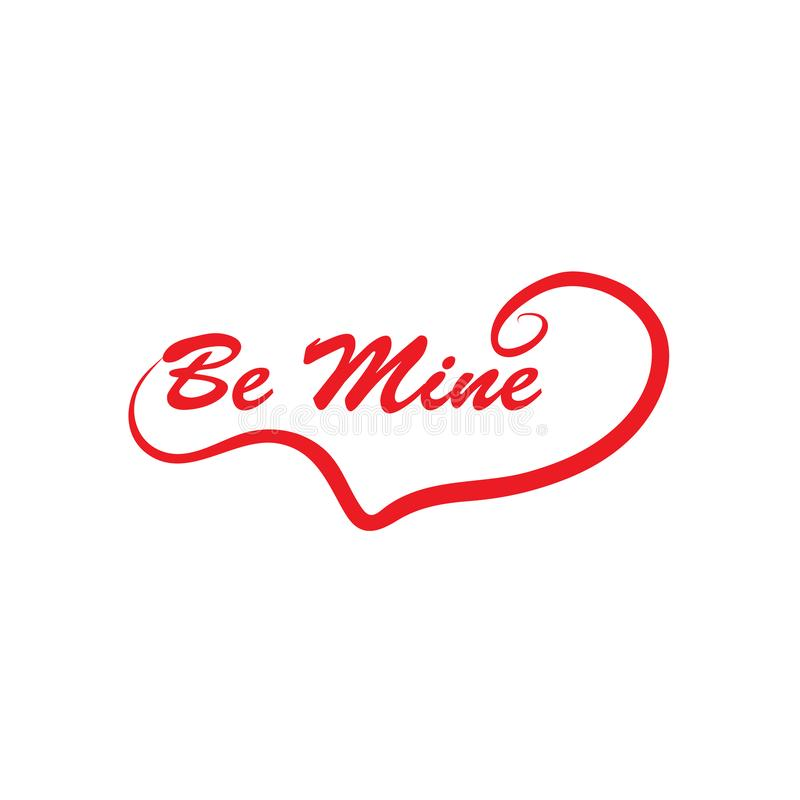 Be mine calligraphy in red. Be mine lettering with heart shape- royalty free stock photos