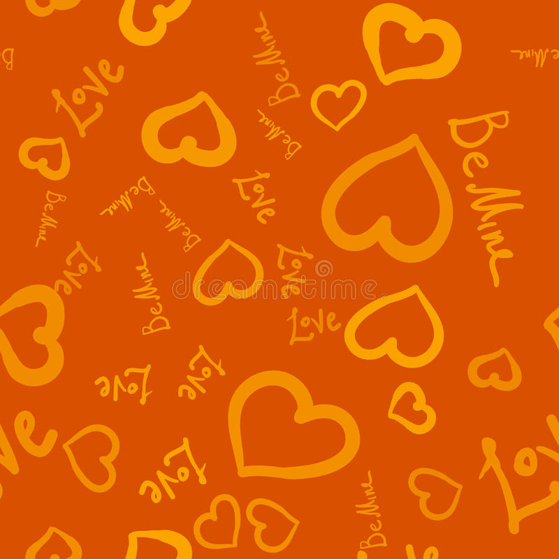 Be mine, love and hearts on brown background stock illustration