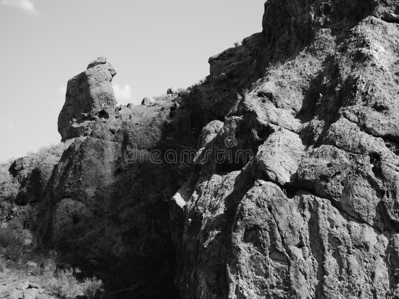 Be munken, Camelback Mt , Scottsdale, AZ arkivbild