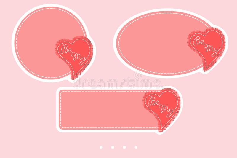 Be My badges for valentine`s day. Simple vector design for sales, greetings, stickers, web page ad, labels, badges, coupons, royalty free illustration