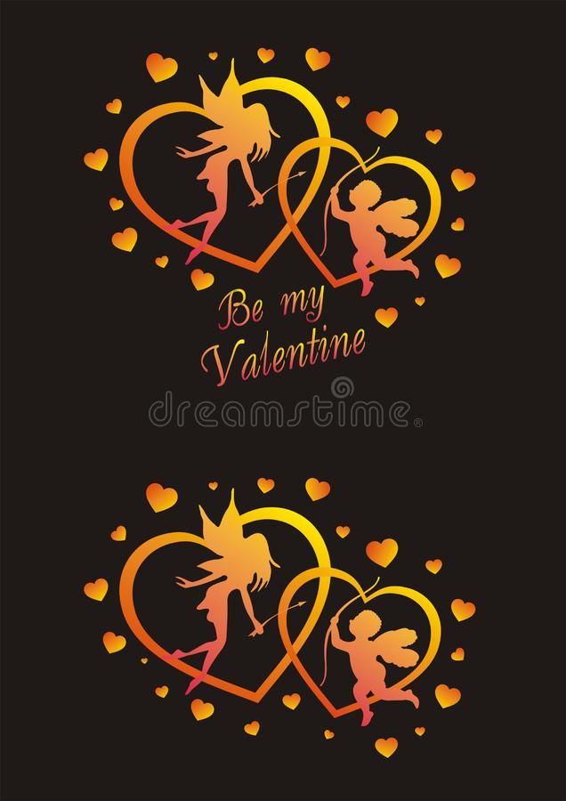 Be my valentine. St. valentines day theme - vector angels and hearts on black background royalty free illustration