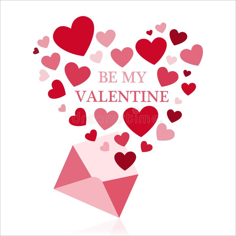 Be my valentine. Be my valentine greeting card with envelope and red hearts royalty free illustration