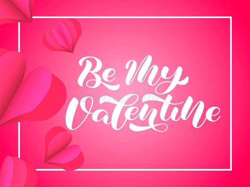 Be My Valentine brush lettering. Vector illustration for banner or poster royalty free illustration