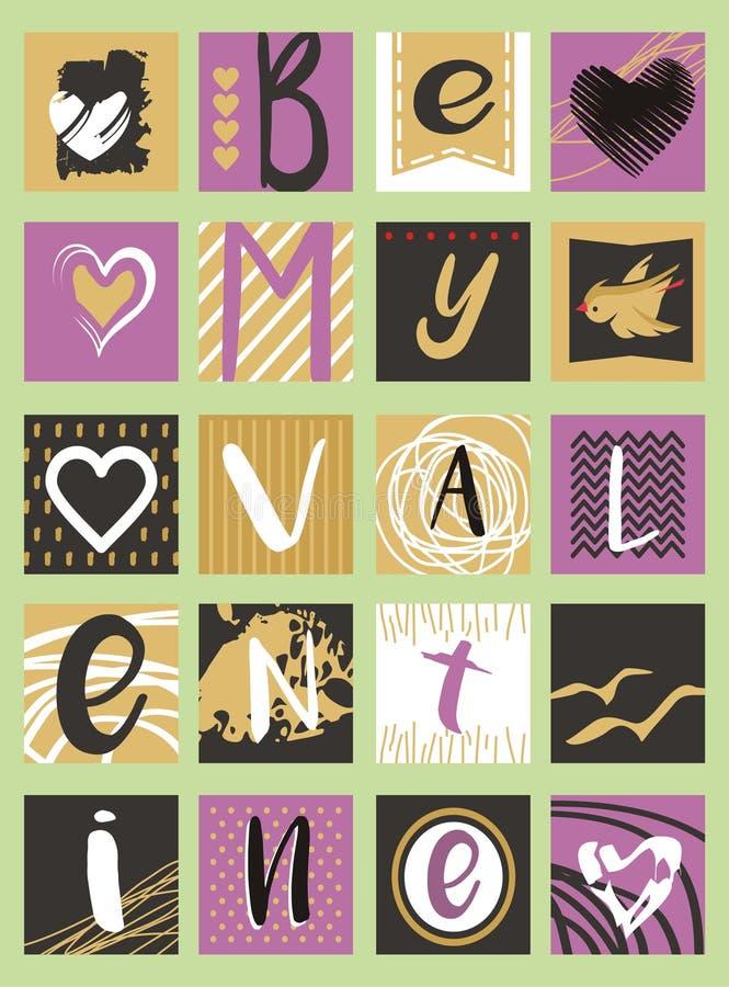 Be my Valentine creative artistic card design idea stock illustration