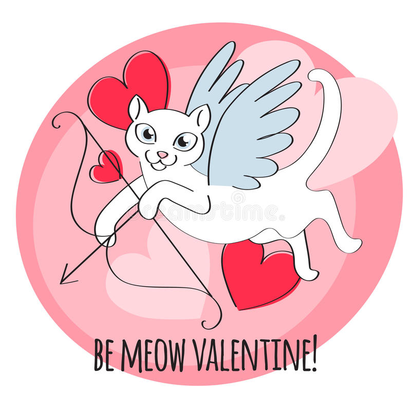 Be my valentine - cupid cat illustration. Funny cat with wings and bow. Heart background. Good for holiday greeting card banner poster t-shirt design. Doodle vector illustration
