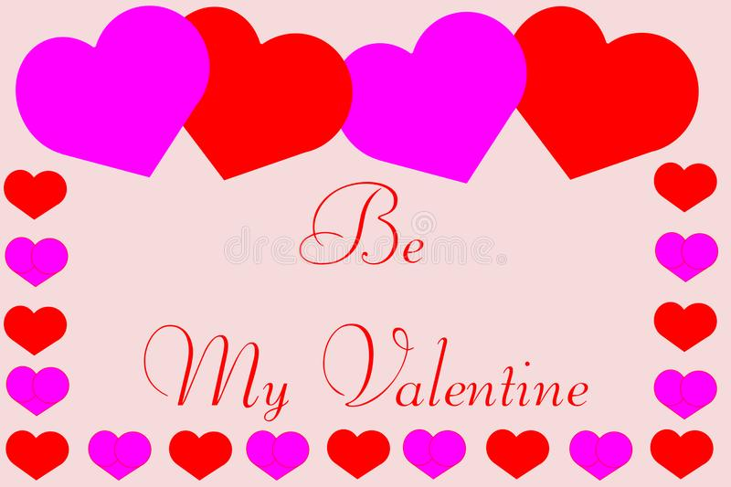 Be My Valentine with Cute Hearts Border vector illustration