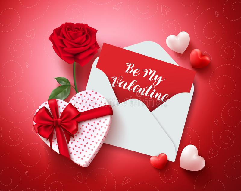 Be my valentine greeting card vector design with love letter, rose and gift vector illustration