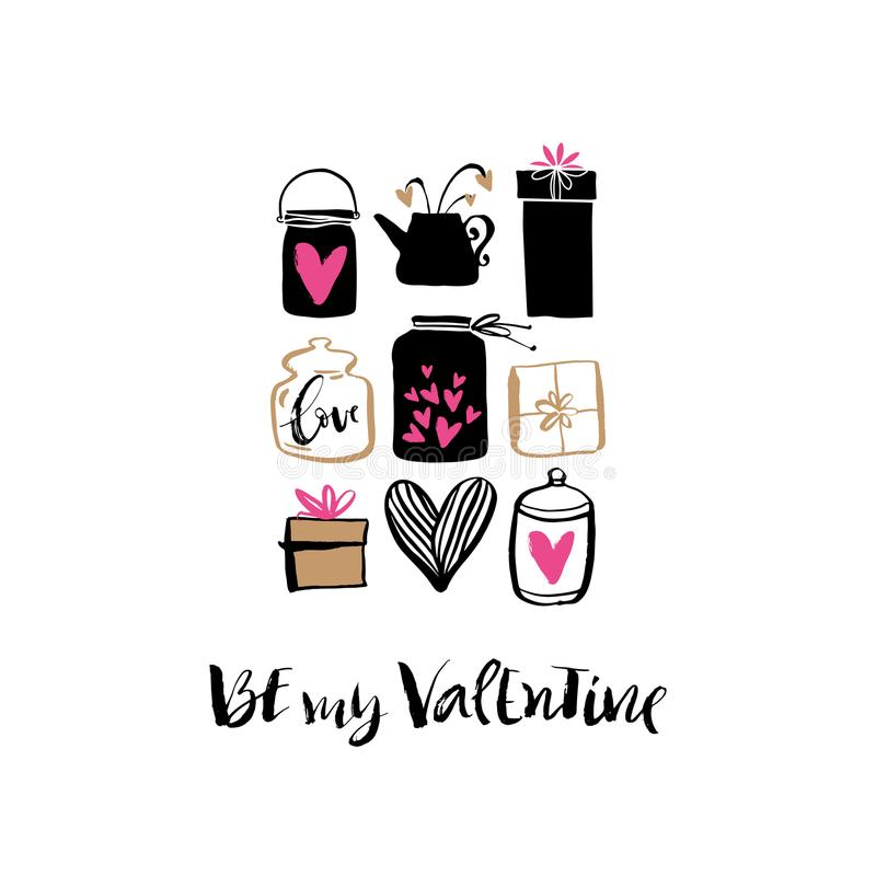 Be my Valentine. Heart, gift box and jar. Valentines day calligraphy holiday card. Hand drawn design elements. Handwritten modern stock illustration
