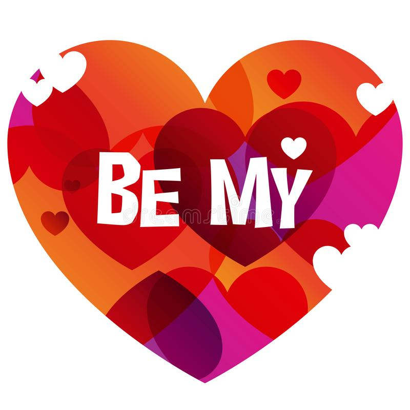 Be My Valentine instagram card in trendy color transition style. Be My Valentine instagram card in 2019 graphic trend, color transition and heart-shape royalty free illustration