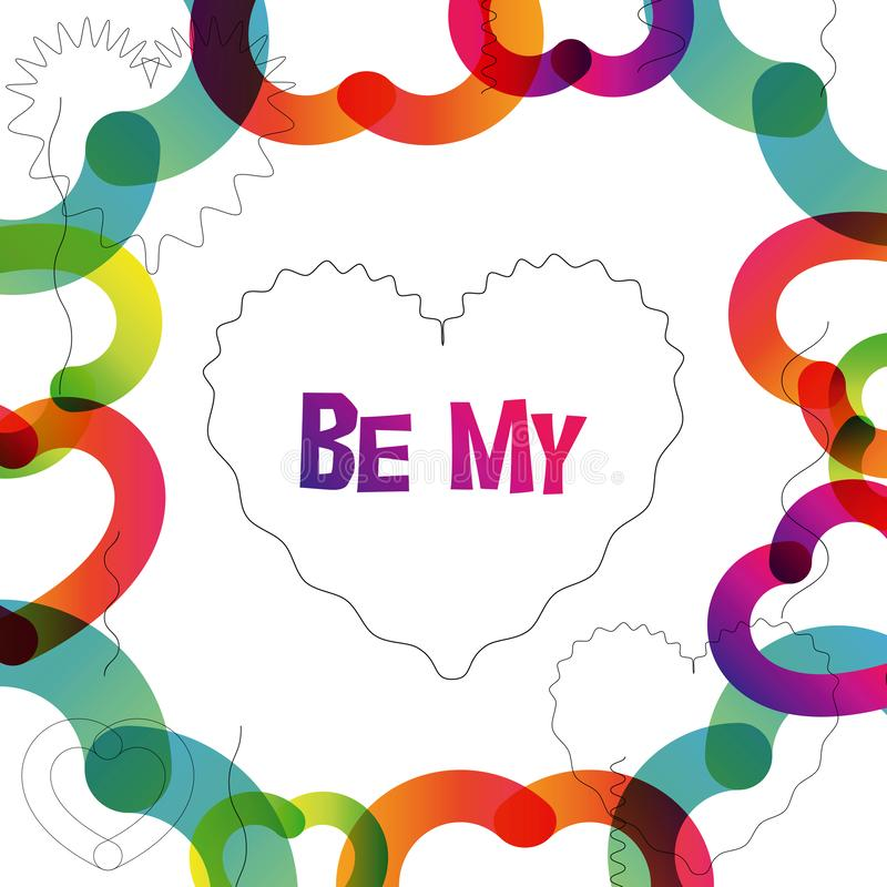 Be My Valentine instagram card in trendy color transition style. Be My Valentine instagram card in 2019 graphic trend, color transition and heart-shape vector illustration