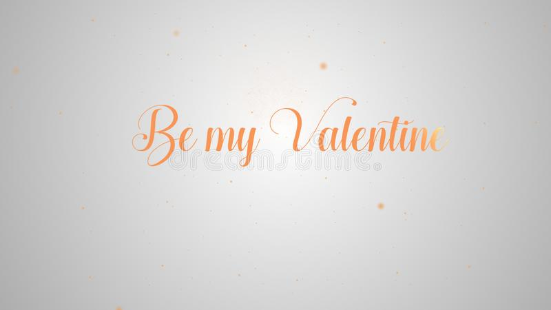 Be my Valentine lettering for greeting card design. Festive decoration. Invitation template. Orange inscription on the vector illustration